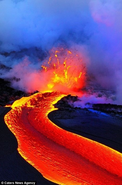 River of lava boils down the mountainside into the seas of Hawaii   My Photo   Scoop.it