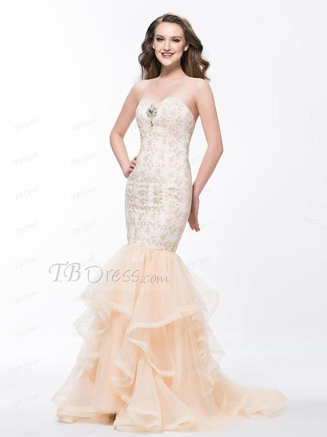 $ 198.09 Glamorous Mermaid Sweetheart Lace Court Train Crystal Floral Pin Evening Dress Designed Independently   one-piece dress   Scoop.it