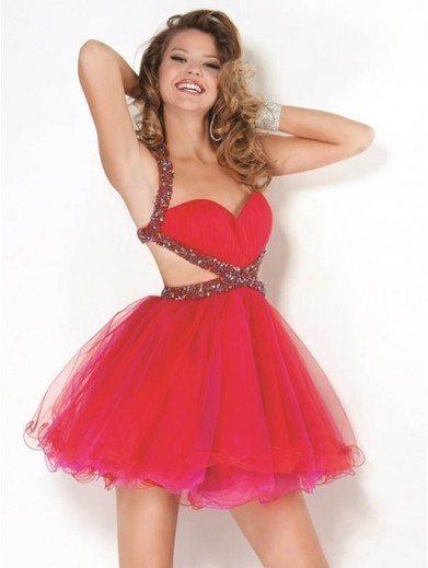 Cheap A-line Straps Tulle Watermelon Cocktail Dresses/Short Prom Dress With Beading #VenusD075 | Cheap Wedding Dresses UK, Bridesmaid Dresses, Evening Dresses & Prom Dresses In UK | Scoop.it