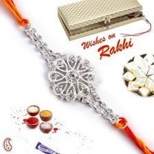 Silver and White Stone Floral Rakhi in Premium Gift box   Rakhi Gifts to India, USA, UK, Canada, Australia   Scoop.it