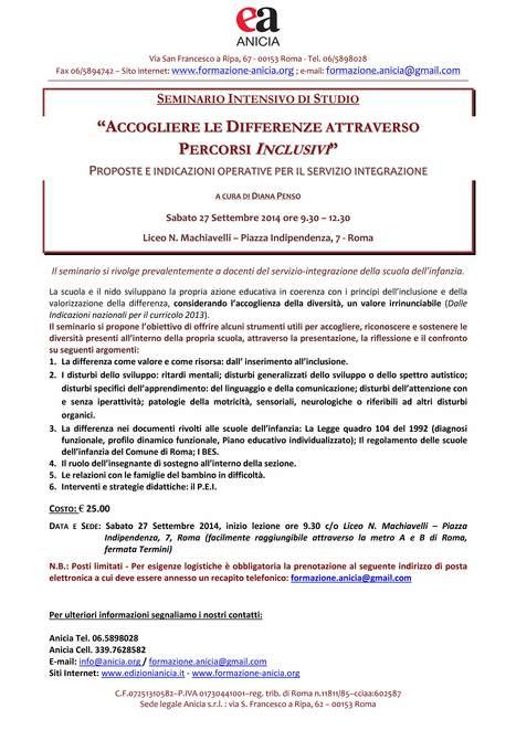 ACCOGLIERE LE DIFFERENZE ATTRAVERSO PERCORSI INCLUSIVI - PROPOSTE E INDICAZIONI OPERATIVE PER IL SERVIZIO INTEGRAZIONE   Formazione Anicia   Scoop.it