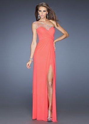 Coral One Shoulder Jeweled High Slit Long Prom Dress [High Slit Long Prom Dress] - $197.90 : www.thedresses2014.com | prom dresses | Scoop.it
