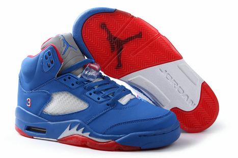 "Jordan 5 Retro - ""CP3"" Nike Shoes: Game Royal/Gym Red Metallic Silver Men Styles 