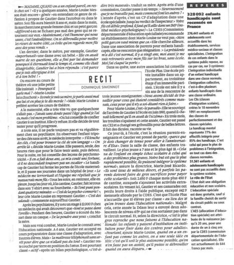 Il y a 20 ans déjà: une journaliste de Libération écrivait sur un enfant handicapé qui a rencontré un jour....École Plus   Ecole Plus Paris   Scoop.it