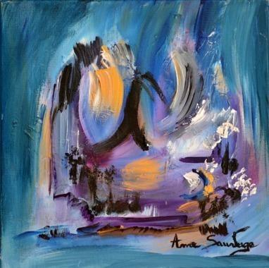 Tableau abstrait pas cher violet mauve artiste - Peinture tableau contemporain moderne pas cher ...