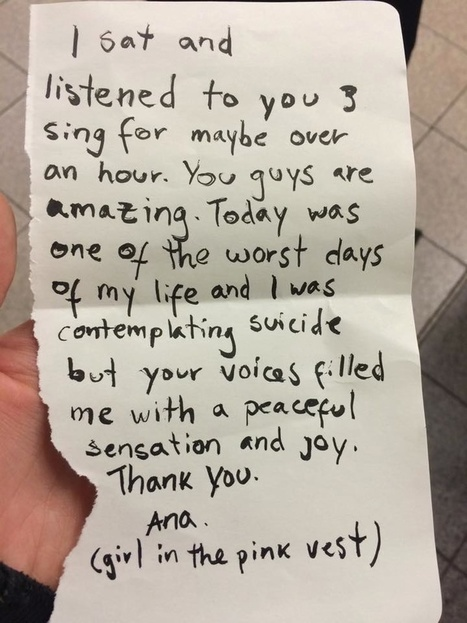 After their subway performance, 3 singers received a thank you note they'll never forget. | Visual Soul | Scoop.it