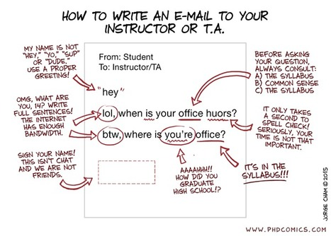 PHD Comics: How To Write An E-mail To Your Instructor Or Teaching Assistant | Social Media Classroom | Scoop.it