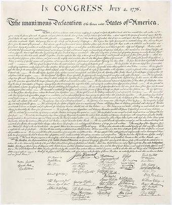 4 juillet 1776 Déclaration unanime des treize États unis d'Amérique | Racines de l'Art | Scoop.it