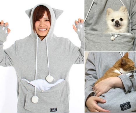 This Cat Hoodie Features A Special Cuddle Pouch for Your Furry Friend | Le It e Amo ✪ | Scoop.it