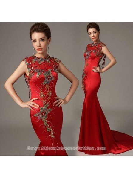 Embroidered floral sleeveless mermaid trailing Chinese wedding dress - Cntraditionalchineseclothing.com | Press Release from dressmebridal.co.uk | Scoop.it