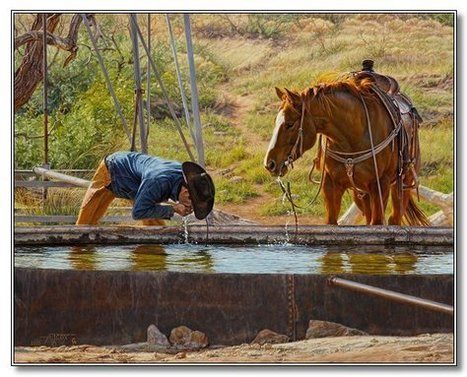 """Straight From The Well"" by Tim Cox, Western Artist 