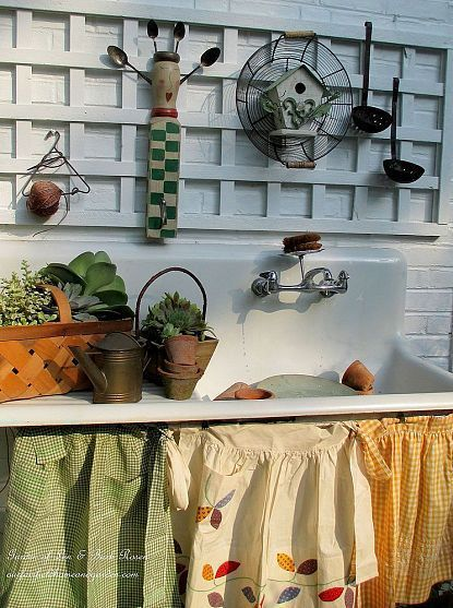 Potting table old sink and vintage aprons | Garden Ideas by Team Pendley | Scoop.it