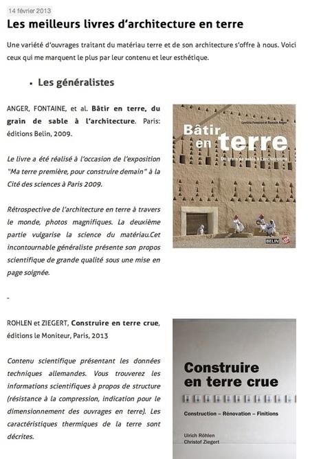 Les meilleurs livres d'architecture en terre | Atelier ALP | Architecture écologique | Scoop.it