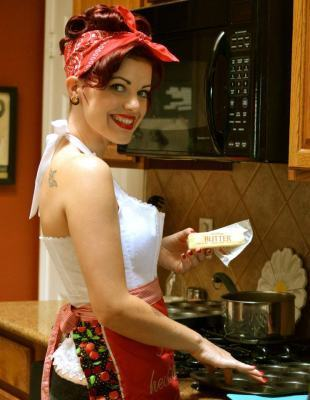 "Pin Up Girl Ruby Franco's ""Corn Cakes with a Roasted Zucchini Salsa."" : Cooking With A Pin Up Recipe # 7 