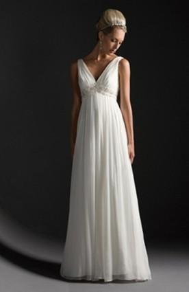 A-line V-neck Sweep/ Brush Train Applique Chiffon Wedding Gowns - Wedding Dresses | Wedding Dresses | Scoop.it