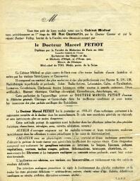 Site web des Archives départementales du Cantal - musardises - documents du mois - Prospectus du docteur Marcel Petiot (1933) - Prospectus du docteur Marcel Petiot (1933) | GenealoNet | Scoop.it