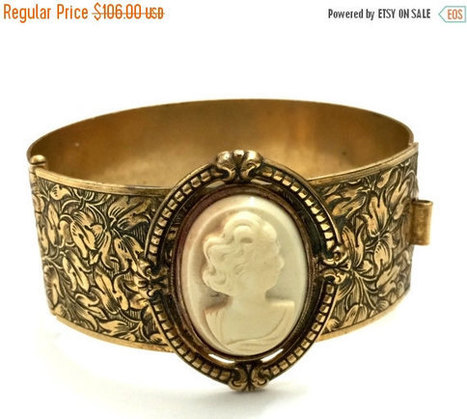 Art Nouveau Hinged Bangle Bracelet, Acrylic Cameo, Intricate Etched Brass Tone, 1920s 1930s | Vintage Jewelry and Other Vintage Treasures | Scoop.it