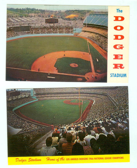 2 Vintage Plastichrome Color Postcards of Dodger Stadium Unused | Antiques & Vintage Collectibles | Scoop.it