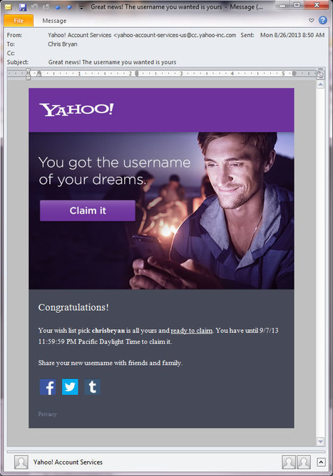 Yahoo begins to hand out 'dream' usernames. | Email Delivery | Scoop.it