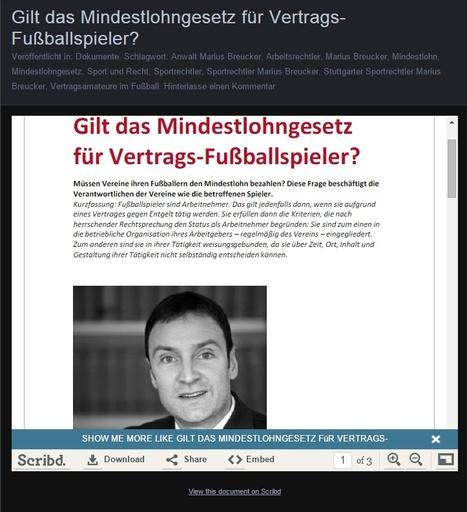 Gilt das Mindestlohngesetz für Vertrags-Fußballspieler?   Marius Breucker im Netz   Scoop.it