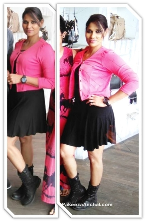 Model Tia Khalifa in Pink jacket and Black Knee length Skirt | Indian Fashion Updates | Scoop.it