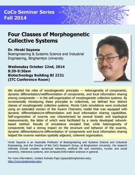 "Next CoCo Seminar on Wed. Oct. 22 by Hiroki Sayama: ""Four Classes of Morphogenetic Collective Systems"" 