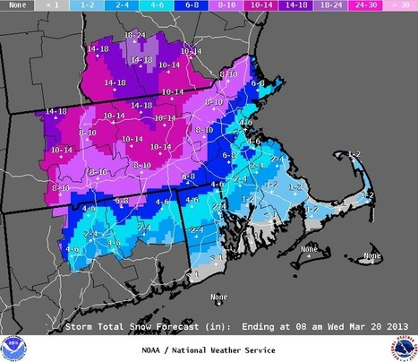 NWS Taunton, MA - KBOX - Storm Total Snowfall Graphic   Situational Awareness   Scoop.it