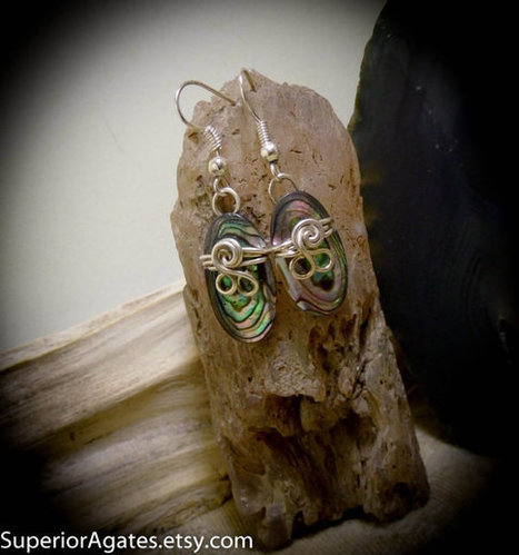Wire Wrapped Abalone Shell Silver Dangle  Earrings | Wire Wrapped Stone | Scoop.it