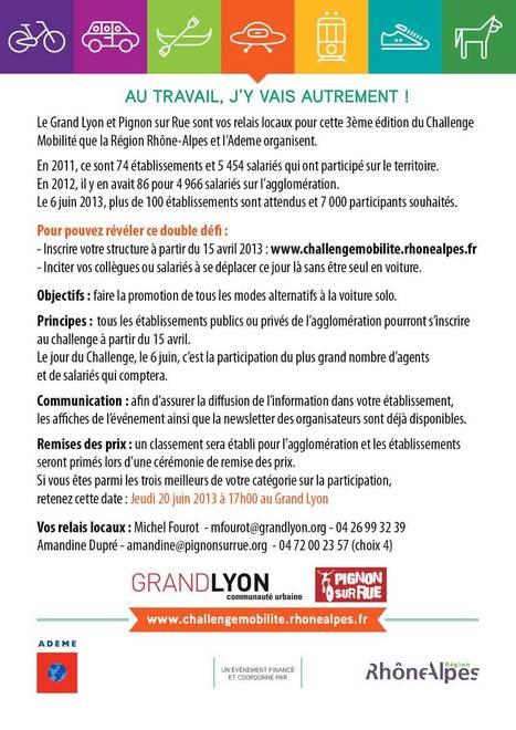 Le challenge mobilité du Grand Lyon le 6 juin. | Vélo en ville, villes à vélos | Scoop.it