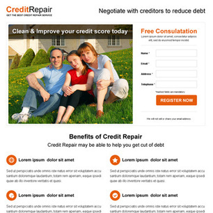 Buy minimal looking credit repair high converting squeeze page design for your business conversion   Landing page design   Scoop.it