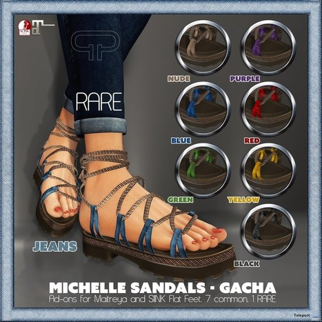 Michelle Sandals Gacha Group Gift by Pure Poison | Teleport Hub - Second Life Freebies | Second Life Freebies | Scoop.it