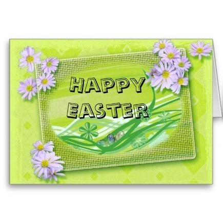 Green background and Flowers Happy Easter Card | Unique and Customizable Gifts | Scoop.it