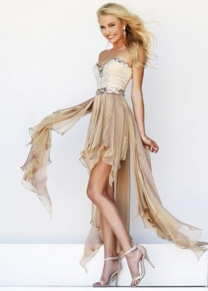 2014 Nude Strapless Sparkly Beaded High Low Prom Dress [Beaded High Low Prom Dress] - $193.90 : www.thedresses2014.com | prom dresses | Scoop.it