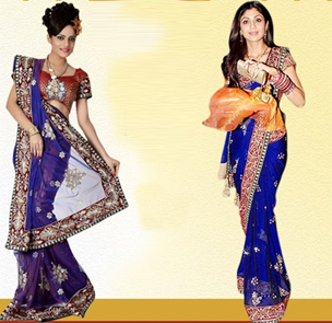 Shilpa Shetty Bollywood Replica Blue Net Saree Buy online | Daily Deals & Flyers Canada | Scoop.it