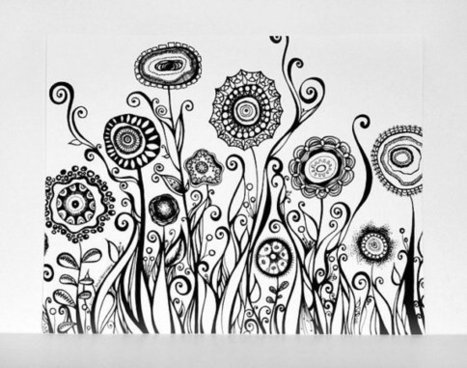 Hand Drawn Flowers Swirling Garden 8x10 Black and White Fine Art Print - Modern Art Pen Line Drawing. Abstract Botanical Illustration | Classroom Gatherings | Scoop.it