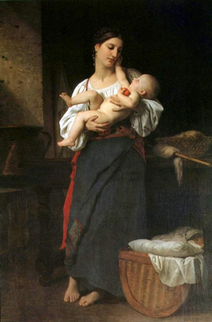 Premières Caresses (1866) Oil Painting by William-Adolphe Bouguereau | oil painting | Scoop.it