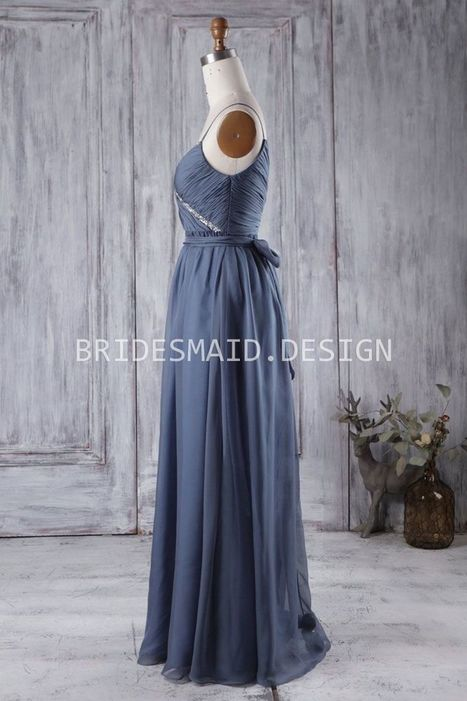 Vintage Beaded Ink Blue Ruched Chiffon Spaghetti Strap Bridesmaid Dress | Bridesmaid Wedding Gowns | Scoop.it