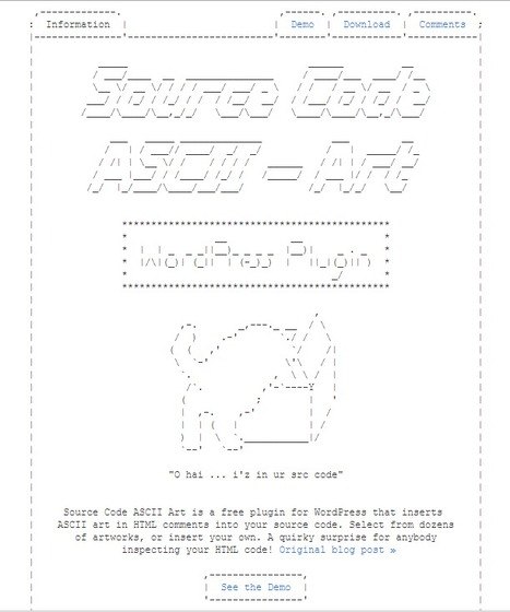 Source Code ASCII Art – WordPress Plugin - Joss Crowcroft | ASCII Art | Scoop.it
