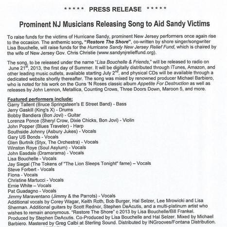 Des musiciens du New Jersey sortent une chanson « Restore The Shore » pour aider les victimes de Sandy   Bruce Springsteen   Scoop.it