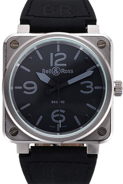 Fake Bell & Ross Black Dial Silver Case Black Leather Strap Watch | Men's & Women's Replica Watches Collection Online | Scoop.it