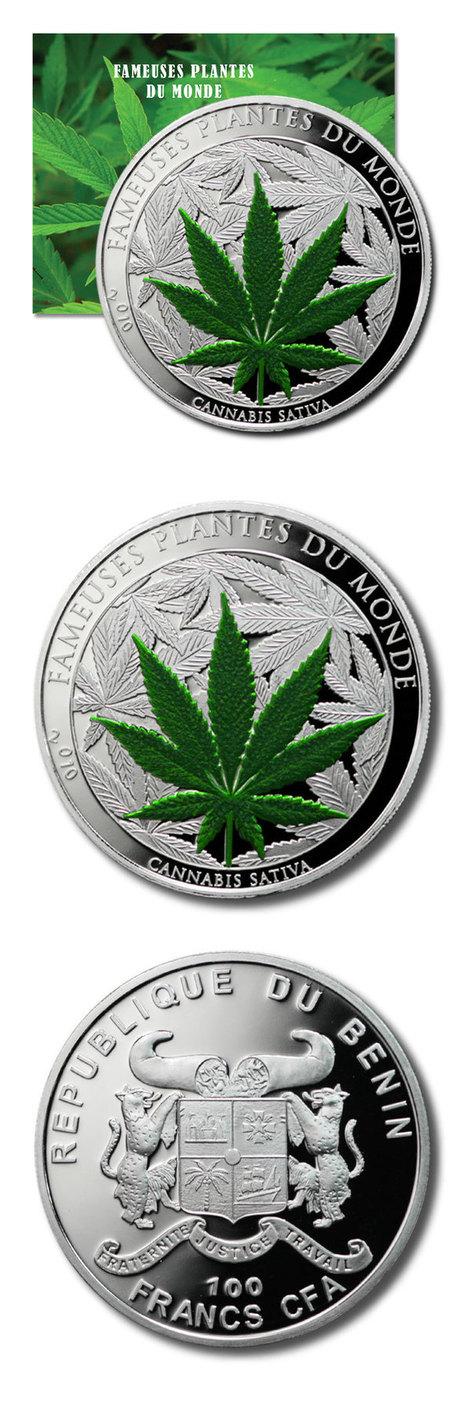 Benin - World's 1st Cannabis Sativa (Marijuana) Coin - 100 CFA - 2010 - Proof Colored Crown - COA   Cannabis Biosynthesis   Scoop.it
