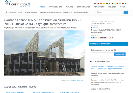 Carnet de chantier N°2 : Construction d'une maison RT 2012 à Sulniac -2014 - a.typique architecture - Construction21 | architecture..., Maisons bois & bioclimatiques | Scoop.it