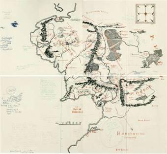 Découverte d'une carte de la Terre du Milieu annotée par Tolkien pour Pauline Baynes - Tolkiendil   médiévalisme   Scoop.it