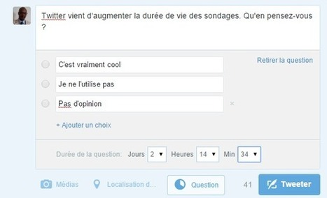 Twitter vous laisse choisir la durée de vie de vos sondages | Usages professionnels des médias sociaux (blogs, réseaux sociaux...) | Scoop.it