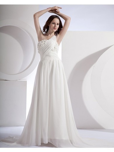 A-line One Shoulder Sleeveless Chiffon White Maternity Wedding Dresses With Beading #Athena087 | Cheap Wedding Dresses UK, Bridesmaid Dresses, Evening Dresses & Prom Dresses In UK | Scoop.it
