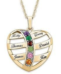 Heart Shaped Necklace with Names and Birthstones | Valentine Gifts for Grandma | Scoop.it