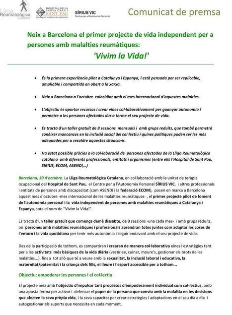 Neix a Barcelona el primer projecte de vida independent per a persones amb malalties reumàtiques: 'Vivim la Vida!' | Vida independiente | Scoop.it