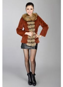 Women's Furs :: Fur Jackets :: Rabbit :: Horizontal Rabbit Fur Jacket with Raccoon Fur Shawl Collar - | furs | Scoop.it
