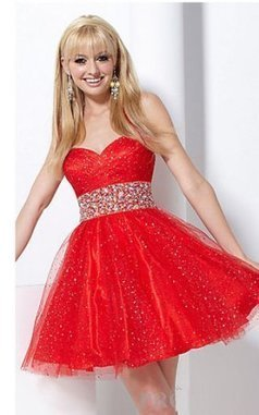 Short Hannah S Sequin Tulle Babydoll Prom Dresses Red [prom dresses 2013a184] - $190.00 : www.2014dresstrends.com | prom dresses | Scoop.it