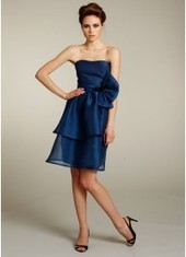 Sheath Column Strapless Knee Length Blue Bridesmaid Dress Bbjh0018 for $244 | 2014 landybridal wedding party dresses | Scoop.it